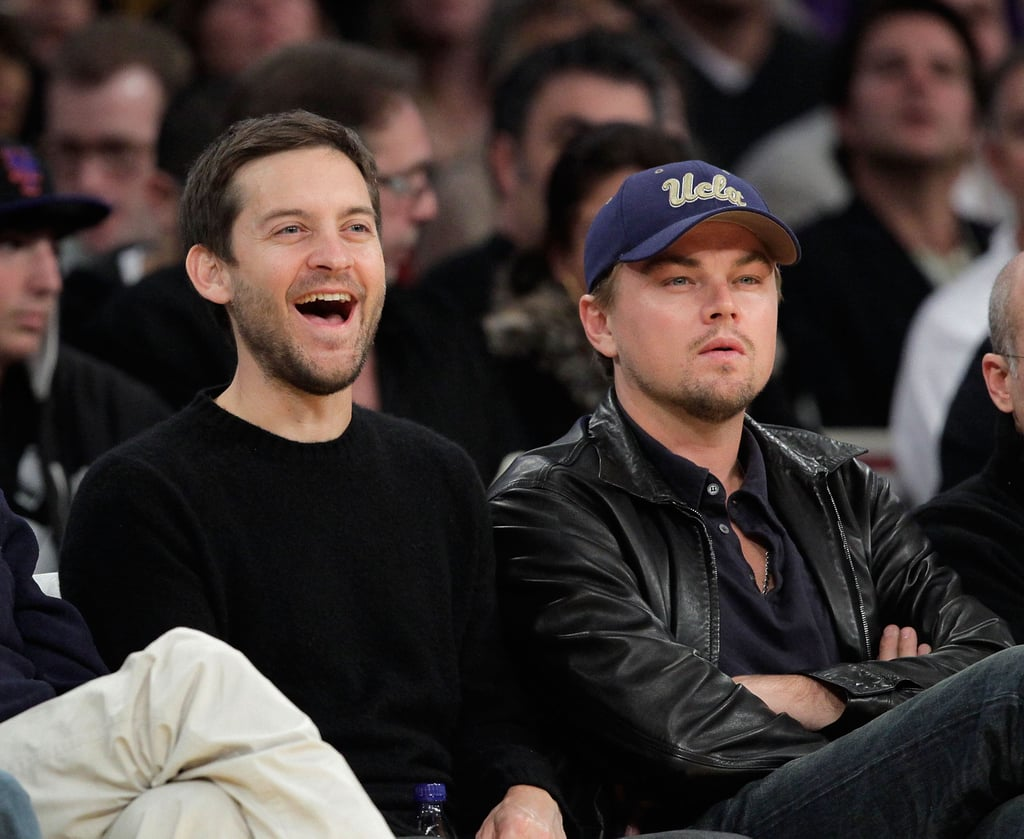 Tobey Maguire and Leonardo DiCaprio had a boys' night at an LA Lakers game in December 2009.