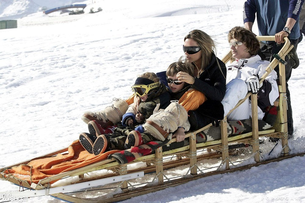 In February 2005, Victoria Beckham took Brooklyn and Romeo on a dogsled ride in the mountains of Baqueira-Beret in Spain.