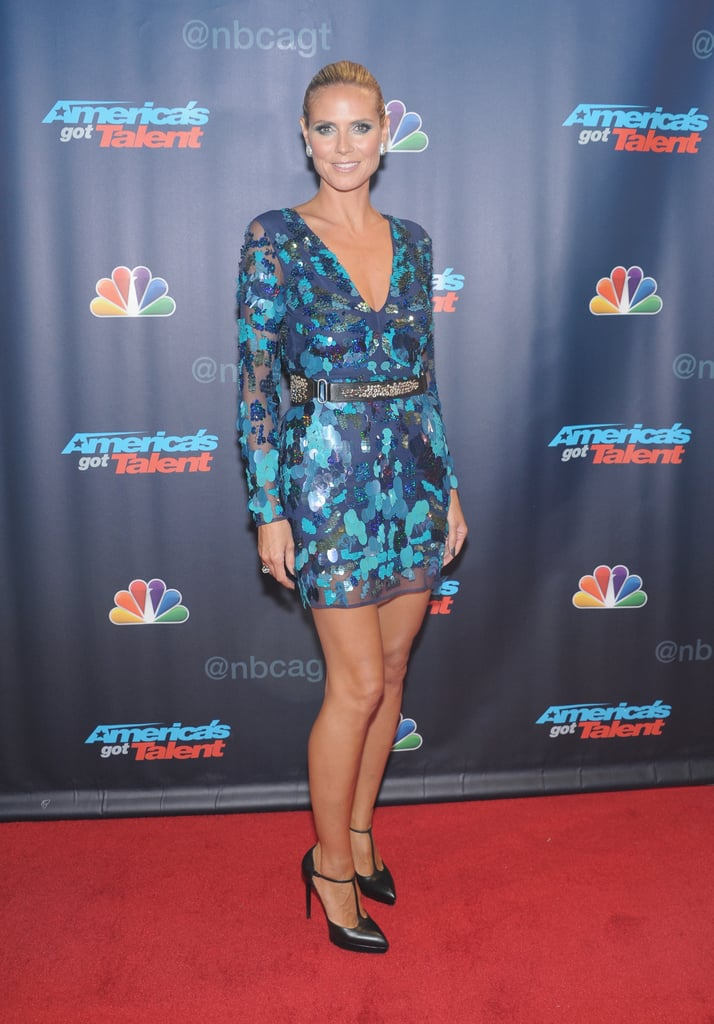 Heidi Klum stepped out in an embellished blue mini at the America's Got Talent preshow.