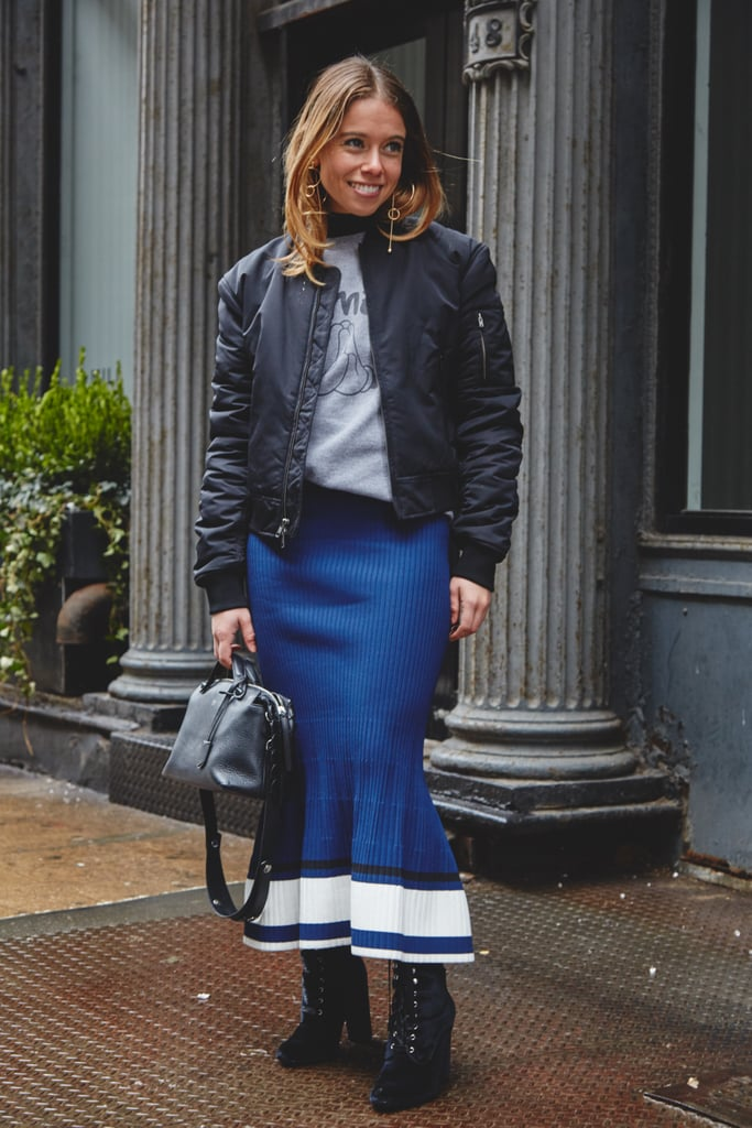 On Editor Sarah Wasilak: Aritzia jacket, La Ligne skirt, Fendi bag, Adornmonde earrings, Steve Madden shoes, and sweatshirt editor's own