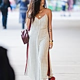 Pair a Checkered Jumpsuit With Red Converse