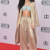 In the most elegant spin on PJs we've ever seen, Zendaya arrived at the 2014 AMAs in this slouchy and shimmering Georgine ensemble.