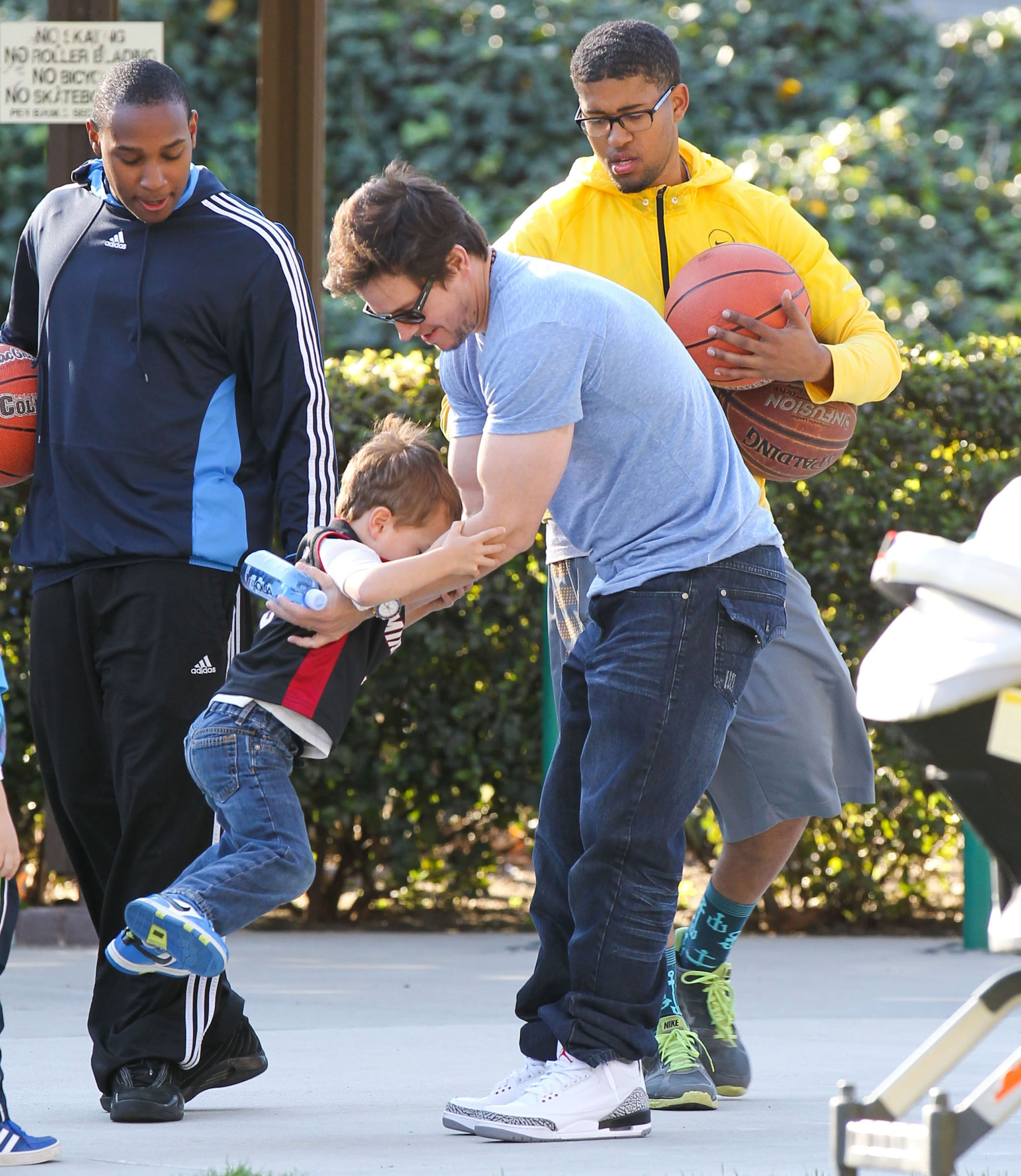 Mark Wahlberg played with his son Brendan.