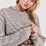 BDG Slouchy High/Low Cable-Knit Sweater
