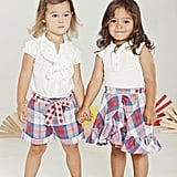 From left: Look one: Eyelet Top ($46) Look two: Pin-tuck Eyelet Top ($44), Reversible Skirt ($48)