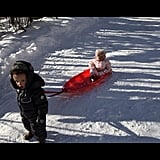 Nick Cannon and Mariah Carey's children, Moroccan and Monroe, went sledding on Christmas Day. Source: Instagram user nickcannongram