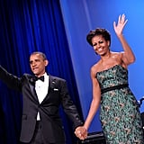 The Obamas wave during the Congressional Hispanic Caucus Institute in September.