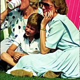 Prince William cuddled into his mom's lap while watching a polo tournament in Windsor in 1989.