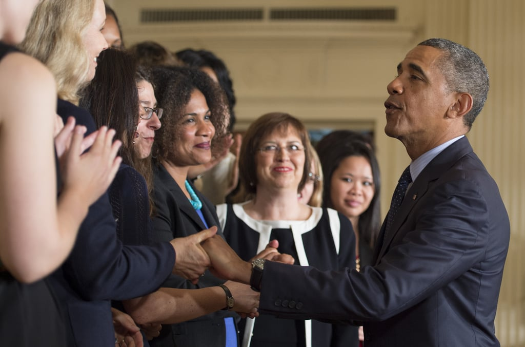 President Obama shook hands with the equal-pay supporters at the White House.
