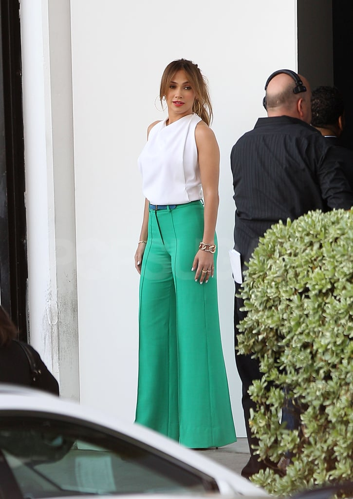 Jennifer Lopez posed for photos before the show.