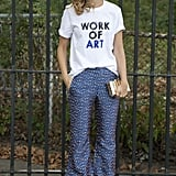 In printed pants and a novelty tee, this look was indeed a work of art.