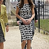 Kate attended the wedding of Sam Waley-Cohen and Annabel Ballin in June 2011 wearing a printed Zara number.