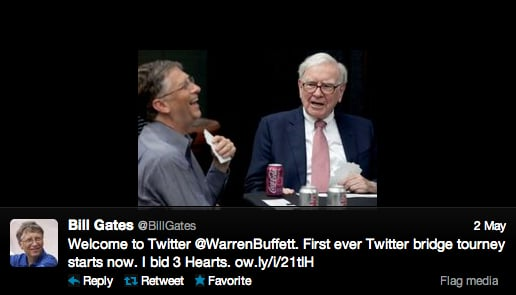 Warren Buffett is now on Twitter . . . and he's already in an ebattle with Microsoft founder Bill Gates.