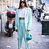 Try a cropped t-shirt with a high-rise trouser-and-blazer set.