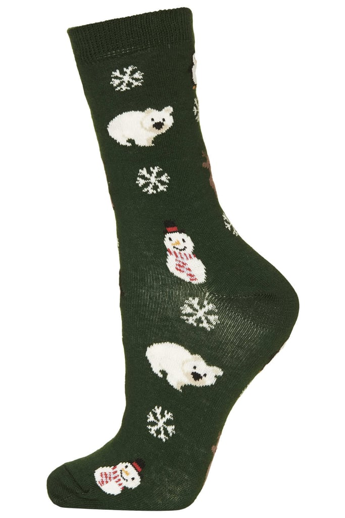 If the object of your gifting affection loves the holidays, then this polar-bear-and-snowman-filled pair from Topshop ($6) will surely be a welcome gift.