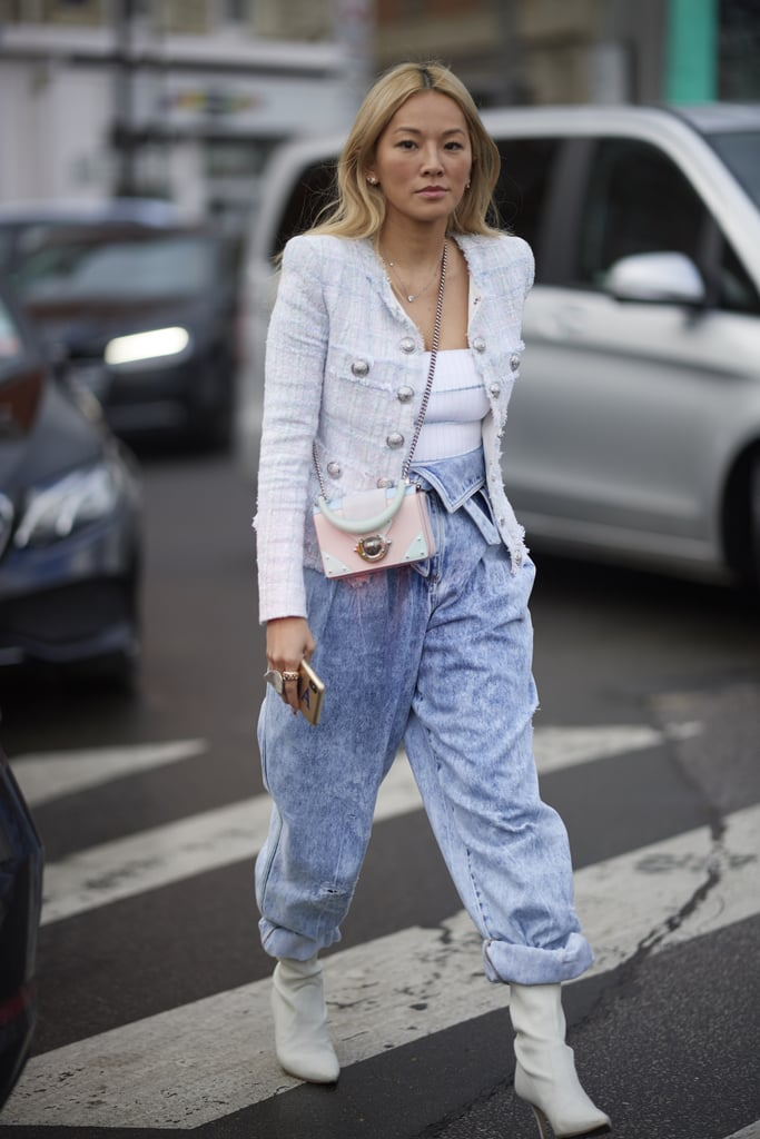 Mix a sophisticated jacket with '80s-inspired denim