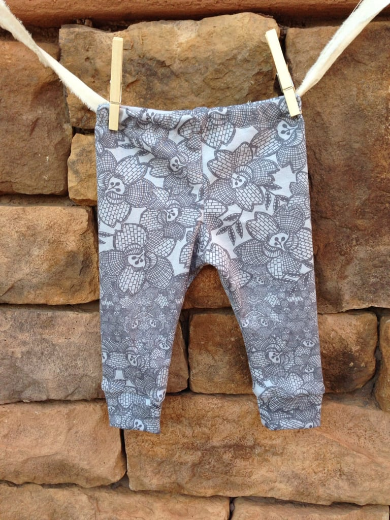 We love the lace look of Little Nugget Noggins' baby girl leggings ($18) in cool gray hues.