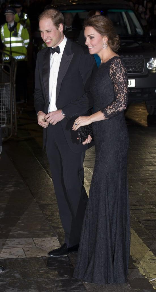 A Black Lace Dress to Match Prince William's Black-Tie Best