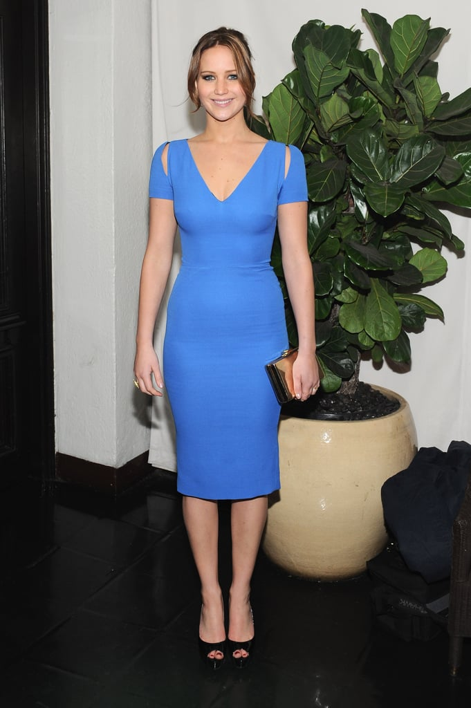Here's proof of just how far a perfectly-tailored dress can go. This Victoria Beckham number is so simple, but the cerulean blue, combined with the fitted silhouette, take it to the next level. It's sexy and ladylike at the same time — winning combination.