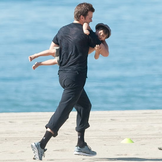 Tom Brady and Benjamin Playing on the Beach in LA