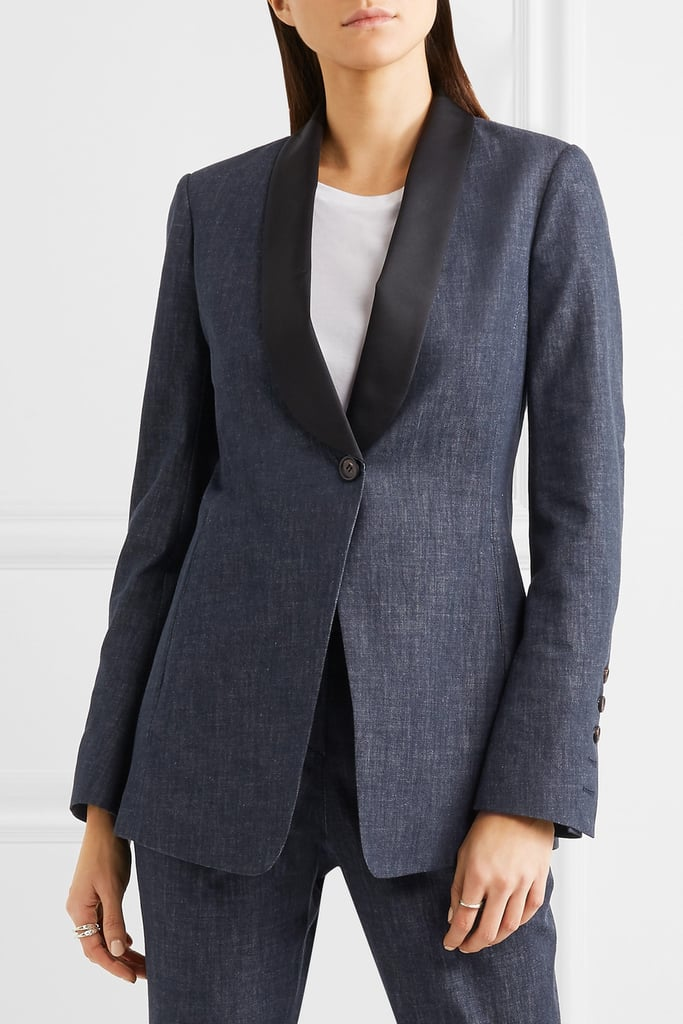 Brunello Cucinelli Satin-Trimmed Denim Blazer