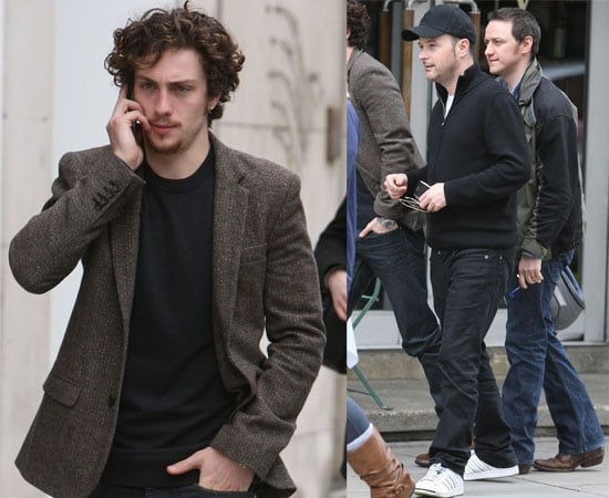 Pictures of Aaron Johnson, Matthew Vaughn and James McAvoy Outside Hospital Claudia Schiffer Gave Birth