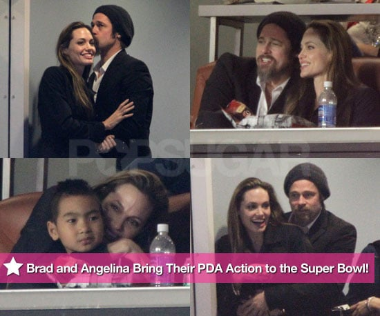 Brad and Angelina Bring Their PDA Action to the Super Bowl!