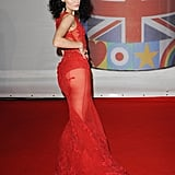 Jessie J wore a sheer red number.