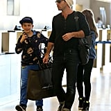 Jude Law and his son Rudy and daughter Iris prepared for a flight out of LA.