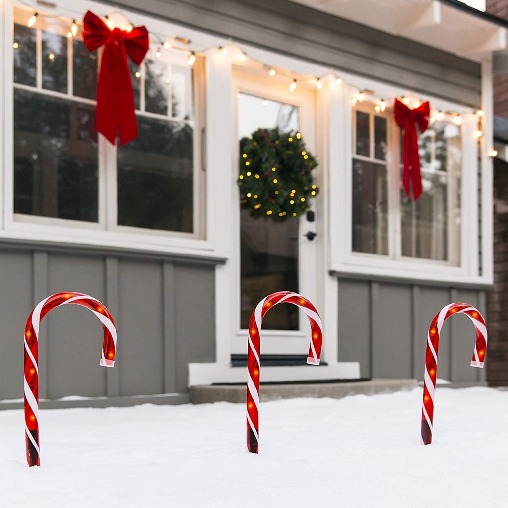 Outdoor Christmas Candy Cane Pathway Marker Lights