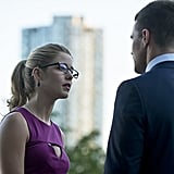 Felicity is worried about how Ollie will get his company back in the wake of last season's events.