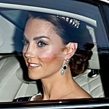 Kate Middleton Wearing Princess Diana's Tiara and the Queen Mother's Sapphire Earrings at the State Banquet