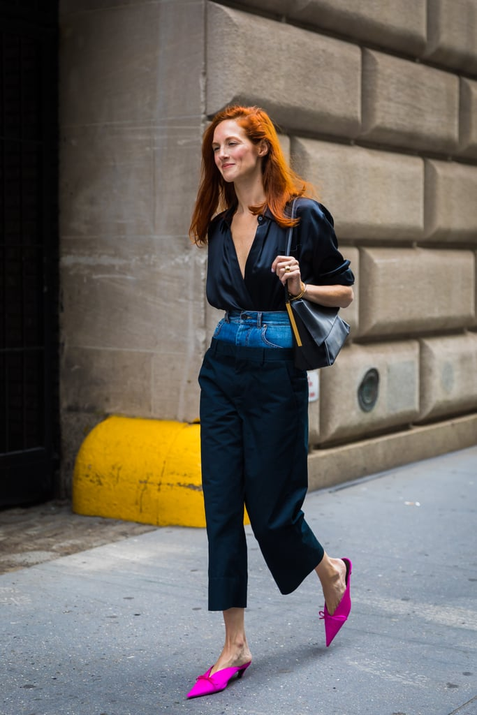 Taylor Tomasi Hill embraces the double waistband, and scores extra points with those hot pink mules.