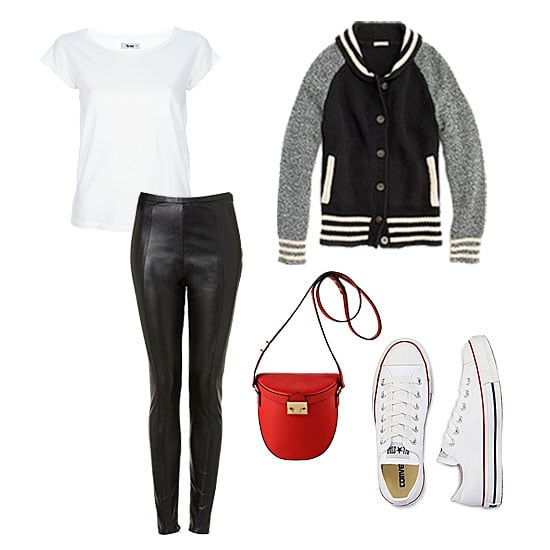To capitalize on the sporty-cool factor of your jacket, look no further than your other wardrobe staples, namely a pair of Converse and a basic white tee. The only additions we'd make would be a pair of ultrasleek leather bottoms and a standout crossbody bag in a fiery red hue to give your classics an on-trend update. Get the look:  Madewell Letterman Sweater-Jacket ($158) Acne Cotton T-Shirt ($78) Topshop Premium Heavy Weight Leggings ($76) Loeffler Randal Shooter Bag ($350) Converse Chuck Taylor All Star Oxfords ($45)