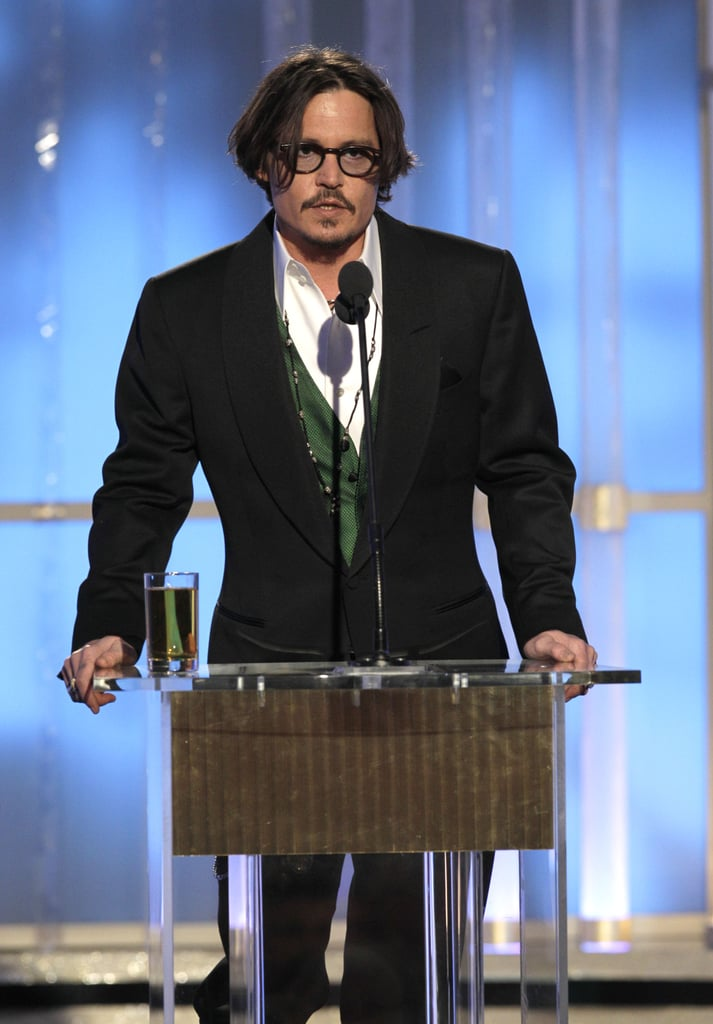 Johnny Depp took the podium at the 2012 Golden Globe Awards.