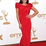Lea Michele in red at the Emmys.