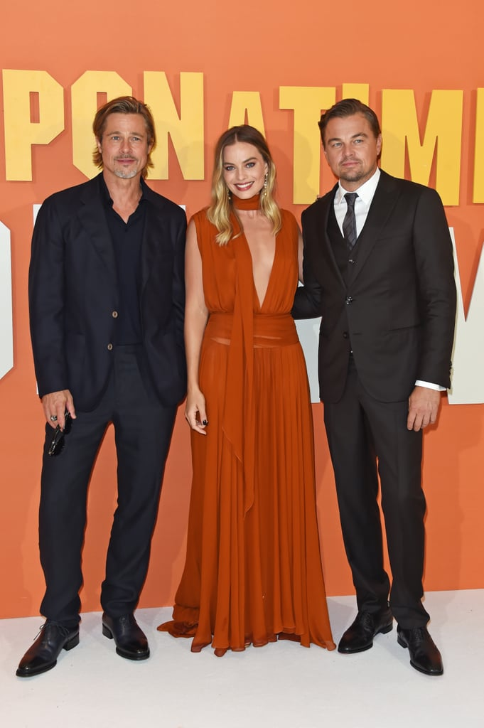 Brad Pitt, Margot Robbie, and Leonardo DiCaprio at the UK premiere of Once Upon a Time in Hollywood.