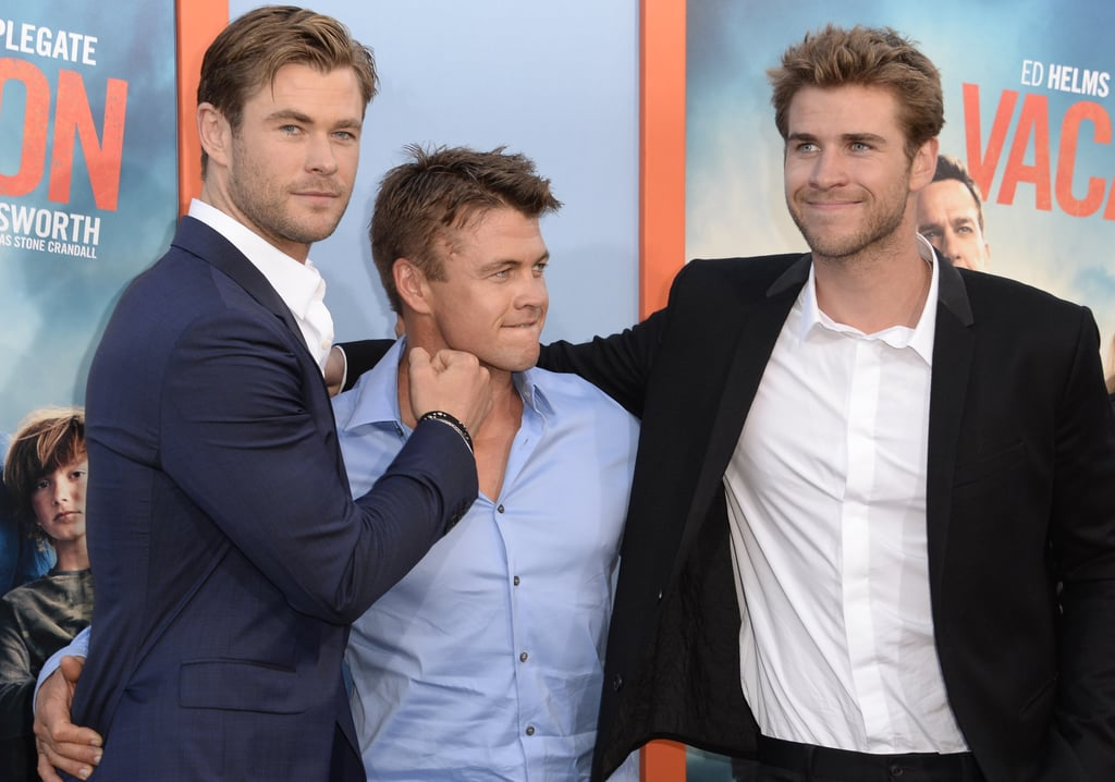 Chris Hemsworth had the support of his brothers, Luke and Liam, when he attended the LA premiere of Vacation on Monday. Chris appears in the reboot of the hit movie, and he looked dapper in a suit for the big night. Luke and Liam, of course, looked handsome, too, and the three brothers goofed around as they posed for pictures on the red carpet. Chris also posed for pictures with his wife, Elsa Pataky, all smiles as they shared sweet looks on the red carpet. Keep reading for some of the must-see snaps, then check out the trailer for the Vacation reboot, which features Chris Hemsworth's abs in all their glory.