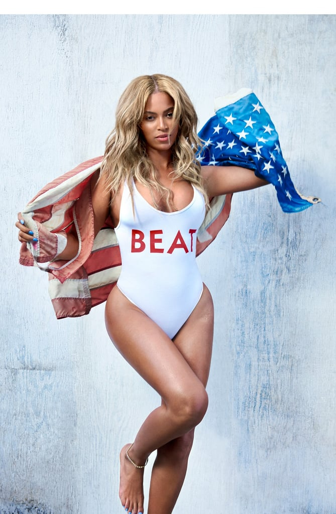 Beyoncé graces the October issue of Beat Magazine for her first print issue interview since 2013. The singer is featured in a sexy yet playful patriotic spread complete with an American flag (and a chicken?). In the photos, Beyoncé puts her killer curves and enviable physique on display in a series of body-hugging one-piece swimsuits.  It's been a busy couple of months for Queen Bey, who covered the pages of Vogue in September and recently celebrated her seventh wedding anniversary with husband Jay Z before jetting off to a tropical location for a honeymoon-esque vacation. Keep reading to see all the stunning pictures, then see how you can channel Beyoncé for Halloween this year.