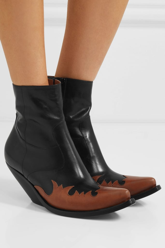 Vetements Kick Ass Two-Tone Leather Ankle Boots