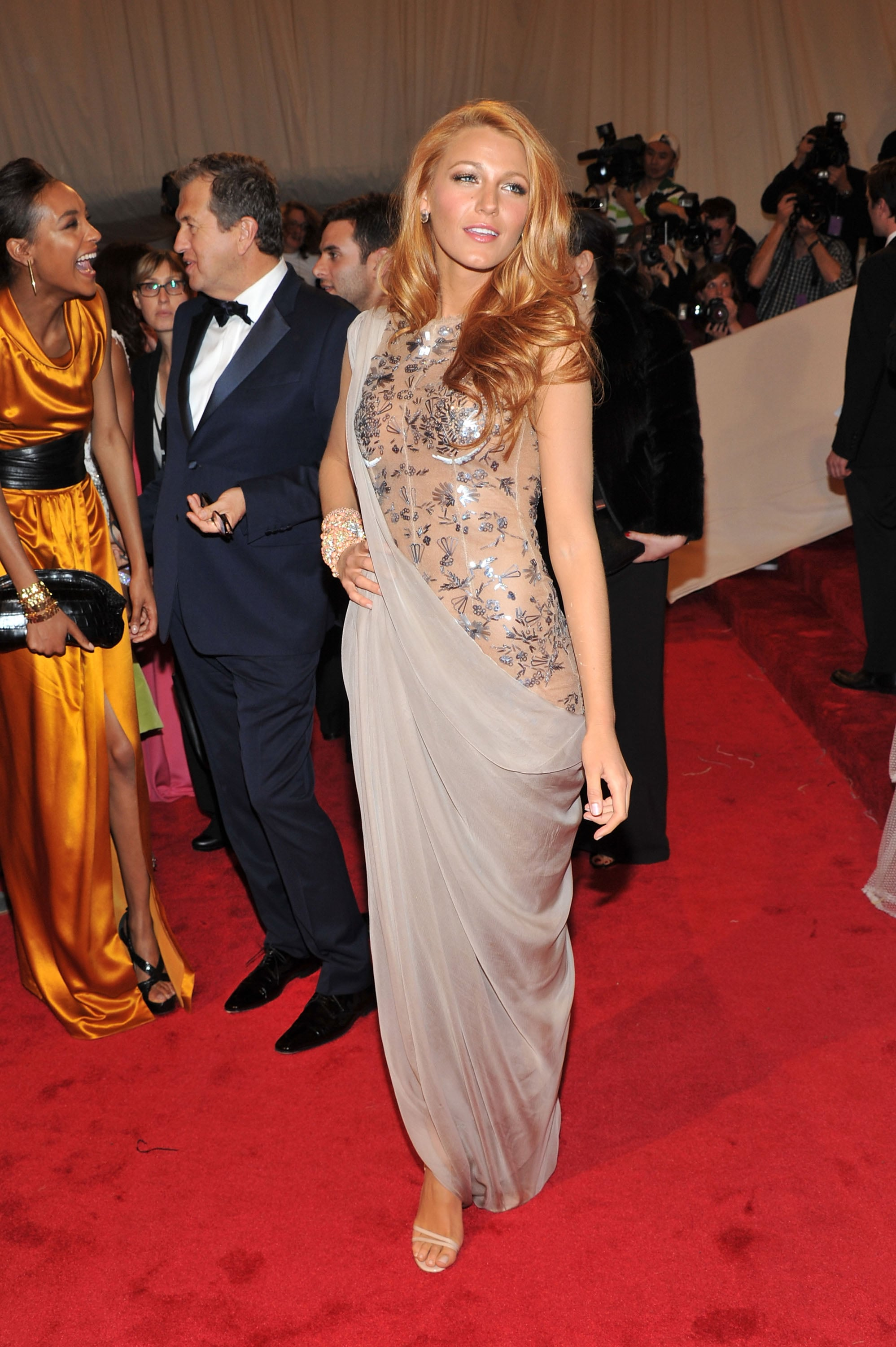 Pictures of Blake Lively in a Nude and Grey Chanel Dress ...