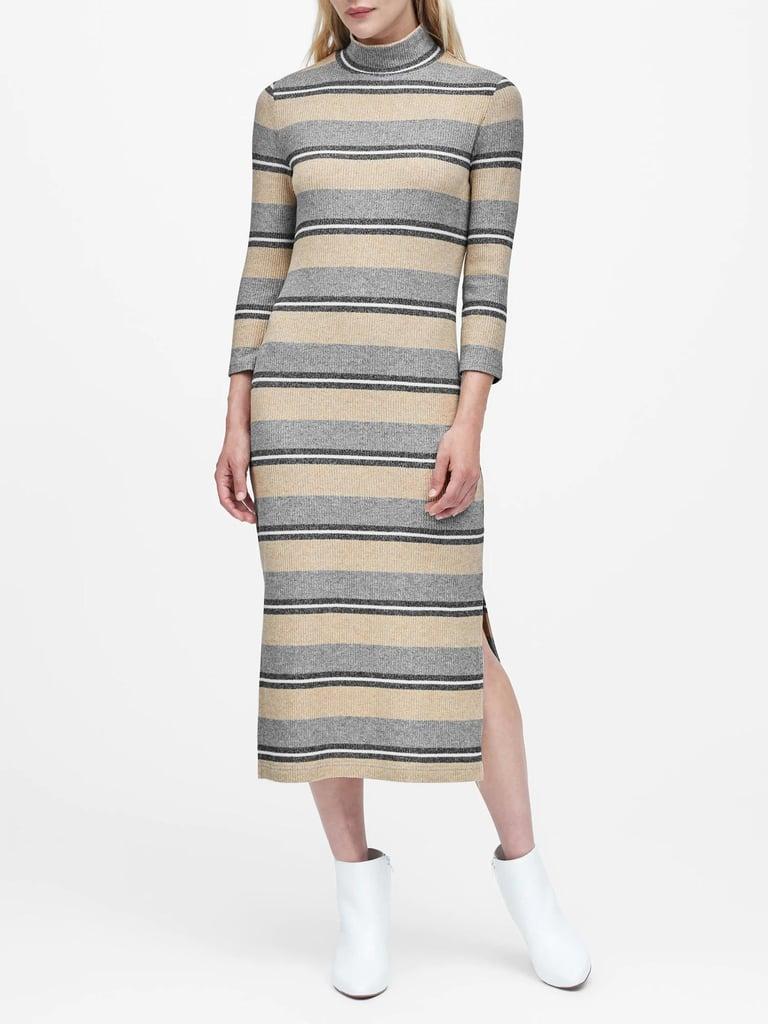 Stripe Luxespun Turtleneck Dress