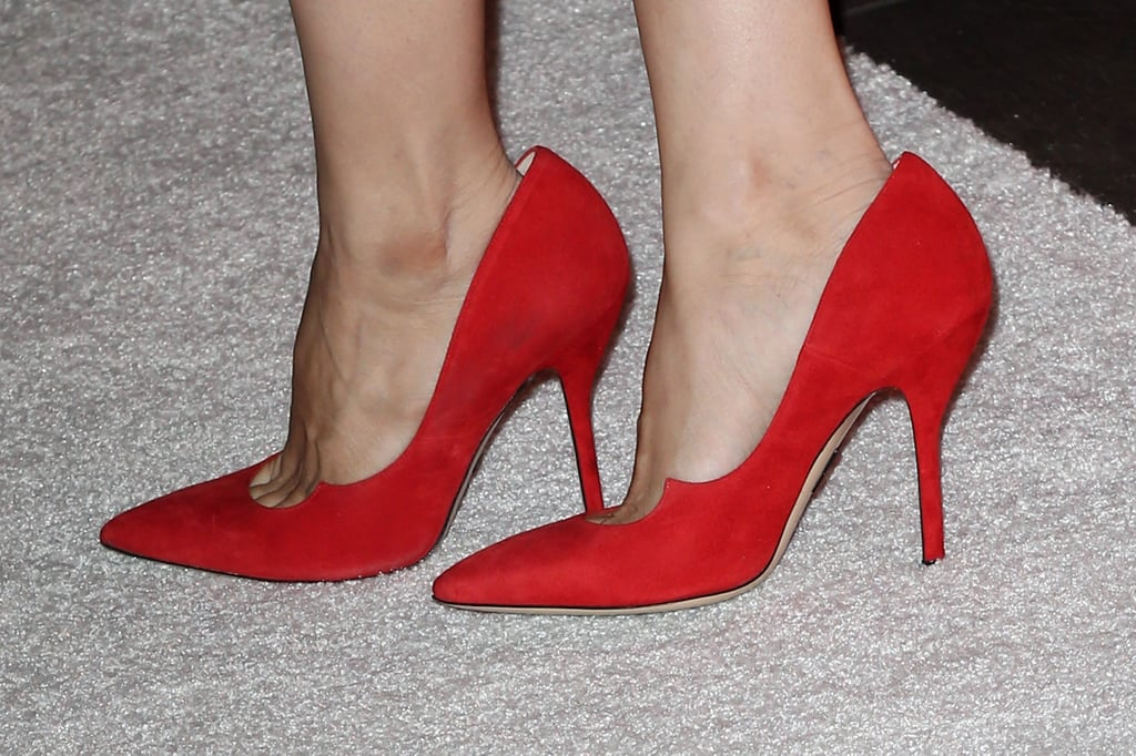 Rachel completed her design with red Paul Andrew pumps that took a subtle crescent silhouette.