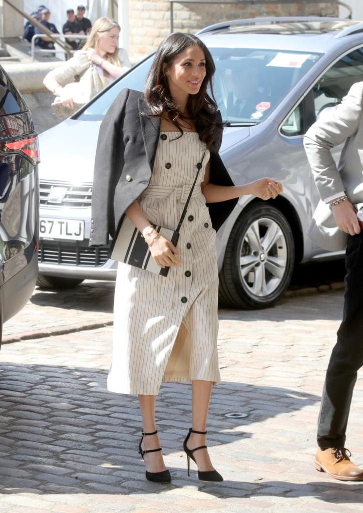 When she stepped out for the Commonwealth Youth Forum, Meghan took our breath away in a stunning Altuzarra midi dress, which she paired with a Camilla and Marc blazer, Tamara Mellon heels, and an Oroton crossbody bag.