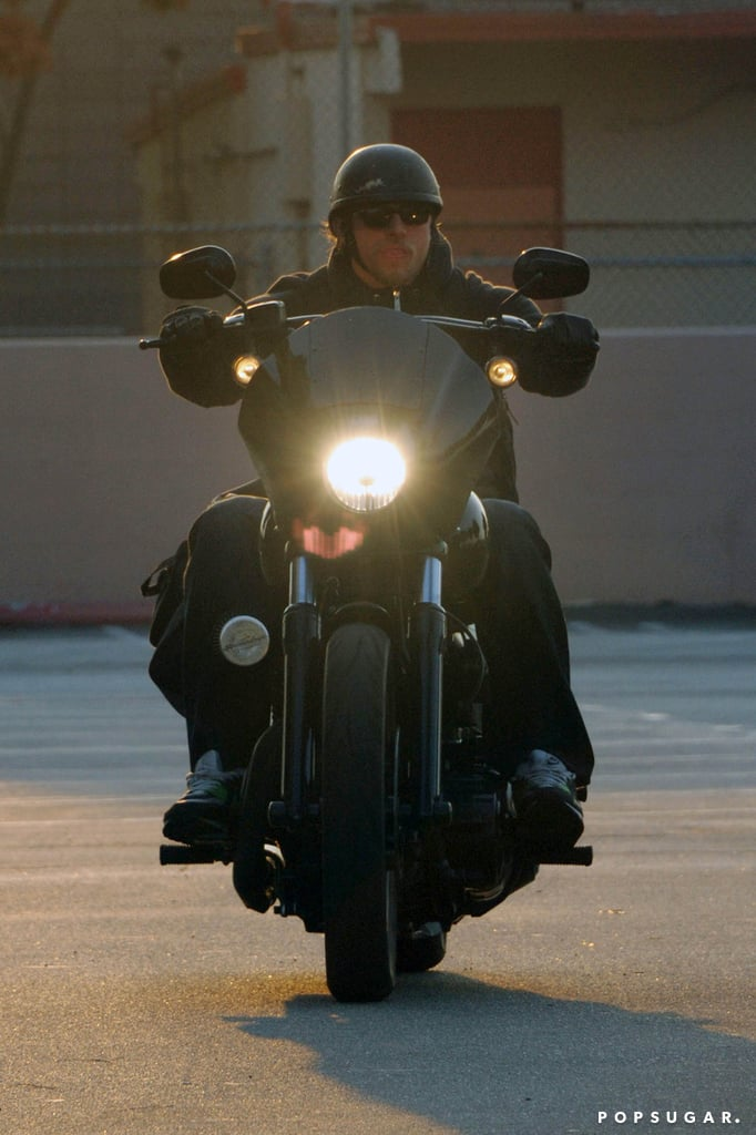 Charlie Hunnam left the set of Sons of Anarchy on his motorcycle.