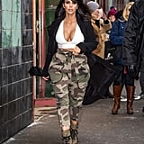 Kim Wore a Low-Cut Crop Top in the Freezing Cold