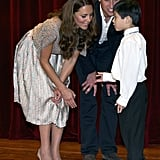 Will and Kate chatted with a young artist.