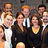 August: Meghan and Harry attend a gala charity performance of Hamilton and pose with the cast and crew.