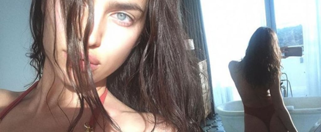 Irina Shayk's Copper Swimsuit Is Meant to Be Seen From Behind, Don't You Think?