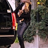 Blake Lively with her dog in Boston.